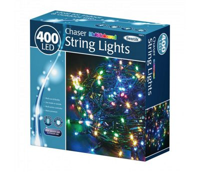 400 LED Multi Coloured Chaser Indoor Outdoor Garden Christmas Party String Lights