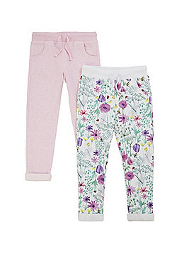 F&F 2 Pack of Floral and Plain Joggers - Multi