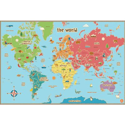 Kids World Dry Erase Map Decal Wall Art
