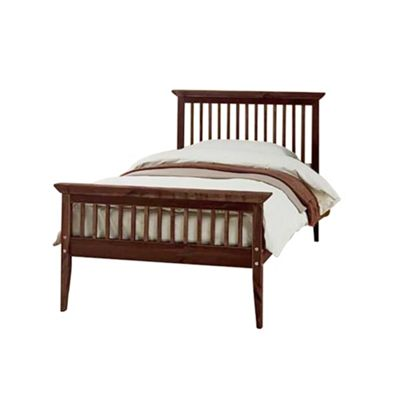 Comfy Living 3ft Single Shaker Style Wooden Bed Frame in Chocolate with Basic Budget Mattress