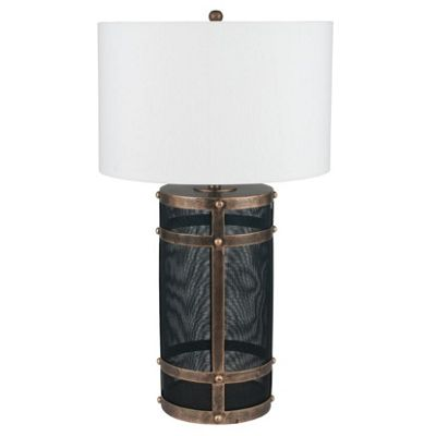 Black Mesh & Antique Gold Table Lamp Complete