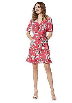 F&F Floral Stencil Print Midi Wrap Dress - Pink