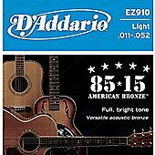 D'Addario EZ910 85/15 Bronze Acoustic Guitar Strings