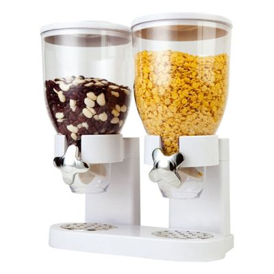 White Double Cereal Dispenser Machine Kitchen Dry Food Plastic Storage Container