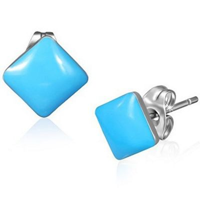 Urban Male Stainless Steel Stud Earrings with Blue Resin Squares