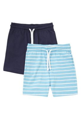 F&F 2 Pack of Plain and Striped Jersey Shorts Blue 12-18 months