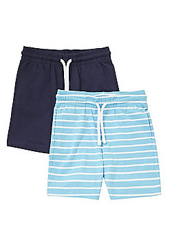 F&F 2 Pack of Plain and Striped Jersey Shorts - Blue