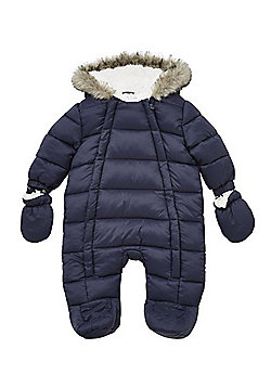 F&F Faux Fur Trim Quilted Shower Resistant Pramsuit with Mittens - Navy