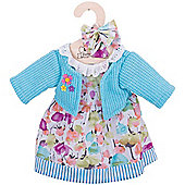 Bigjigs Toys Turquoise Cardigan and Flowery Rag Doll Dress for 38cm Soft Doll with Additional Matching Hair Accessories