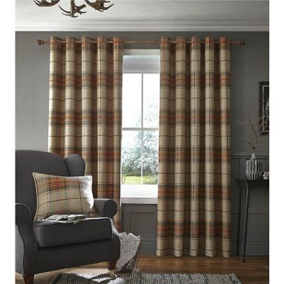 Catherine Lansfield Brushed Burnt Orange Heritage Check Curtains - 66x54 Inches (168x137cm)