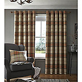 Catherine Lansfield Brushed Heritage Check Curtains - Orange