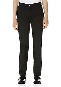 F&F School Girls Jersey Skinny Leg Trousers - Black