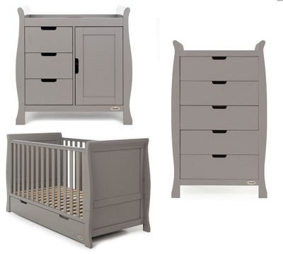 Obaby Stamford Classic 3 Piece Nursery Room Set - Warm Grey