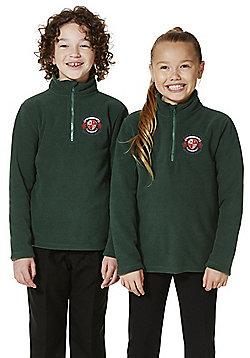 Unisex Embroidered Half Zip School Fleece - Green