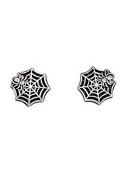 Sterling Silver Cobweb Stud Earrings