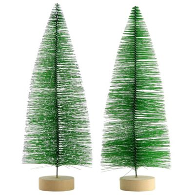 2 x 30cm Green Plastic Bottle Brush Bristle Christmas Tree Ornaments