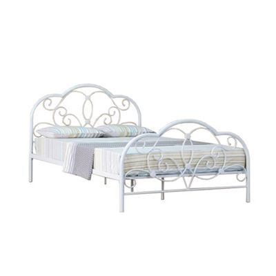Comfy Living 4ft6 Double French Style Curve Detail Metal Bed Frame in White with Luxury Damask Mattress