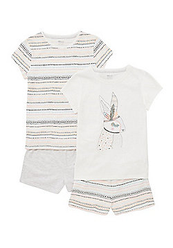 F&F 2 Pack of Aztec Bunny Print Pyjamas - Multi