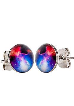 Men's 'Nebula' 12mm Space Stainless Steel Stud Earrings by Urban Male