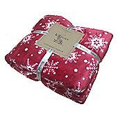 Kilburn & Scott Red & White Snowflake Flannel Fleece Christmas Throw