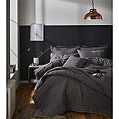 Catherine Lansfield Brushed Blanket Stitch Grey Duvet Cover Set - Grey