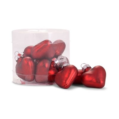 Set of 12 Mini Red Glass Heart Bauble Christmas Tree Decorations