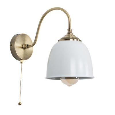 Ashford Steampunk Wall Light - Brass & White Elwick