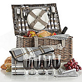 VonShef 4 Person Wicker Picnic Basket Hamper Set