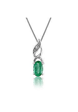 Gemondo 9ct White Gold 0.25ct Emerald & Diamond Pendant on Chain