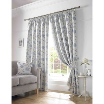 Worcester Blue Pencil Pleat Lined Curtains - 46x54 Inches (117x137cm)