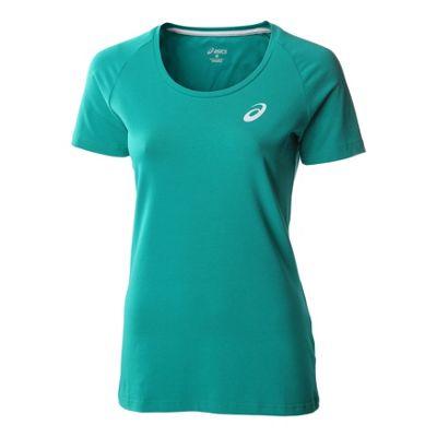 Asics Essentials Short Sleeve Womens Fitness Running Shirt Tee Green - UK 8-10