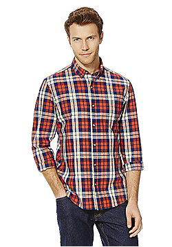 F&F Checked Button-Down Collar Shirt - Red