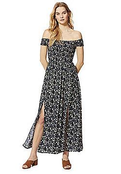 Izabel London Floral Print Bardot Maxi Dress - Black multi