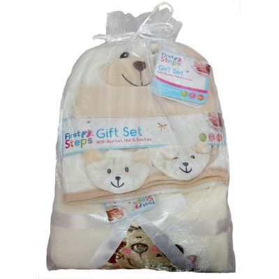 Cream Bear Baby Gift Set Hat Booties 2 blankets