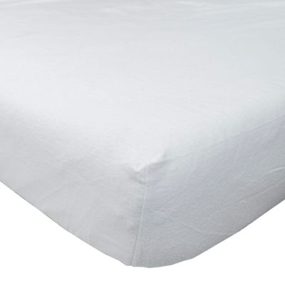 Homescapes White Brushed Cotton Fitted Sheet 100% Cotton Luxury Flannelette, Double