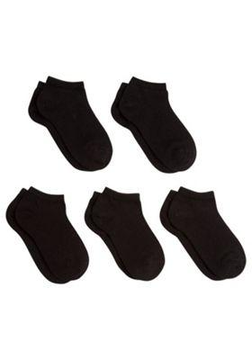 F&F 5 Pair Pack of Trainer Socks Black Adult Shoe 4-6 1/2