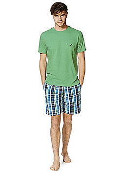 F&F T-Shirt and Woven Shorts Loungewear Set - Blue