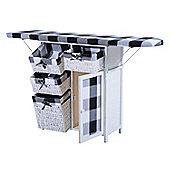 Homcom Folded Ironing Board Shelving- Black and white