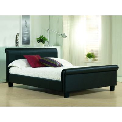 Black Real Leather Sleigh Style Bed Frame - Double 4ft 6