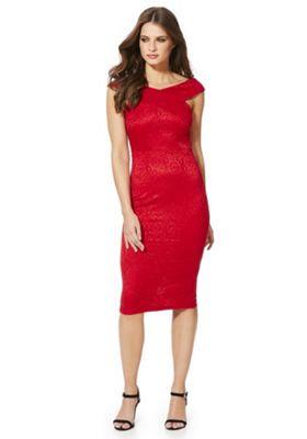 AX Paris Lace Bardot Bodycon Dress 12 Red