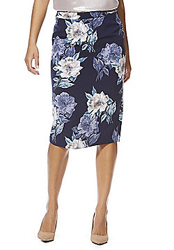 F&F Floral Print Pencil Skirt - Navy & Multi