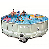 """Intex Ultra Metal Frame Round Metal Pool 16ft x 48"""" With Sand Filter - 28324"""