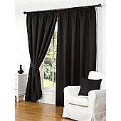 Hamilton McBride Waffle Lined Pencil Pleat Curtains - Black
