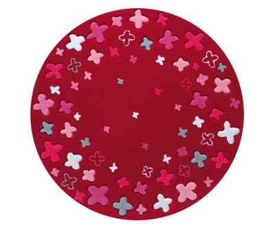 Esprit Bloom Field Red Kids Round Rug