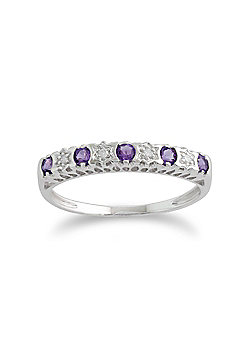 Gemondo Amethyst Ring, 9ct White Gold 0.22ct Amethyst & Diamond Half Eternity Band Ring
