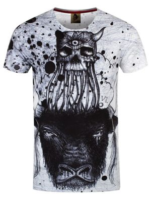 Monkey Business Bull Skull White Men's T-shirt