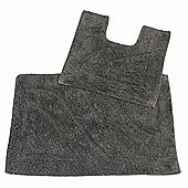 Homescapes Luxury Two Piece Bath Mat Set Grey