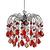 Red Acrylic Easy Fit Pendant Light Shade with Chrome Metal Frame