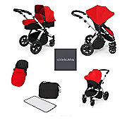 ickle Bubba V2 Stomp AIO Travel System with Mosquito Net - Red (Silver Chassis)