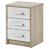 Delta 3 Drawer Bedside Cabinet Oak Effect, White